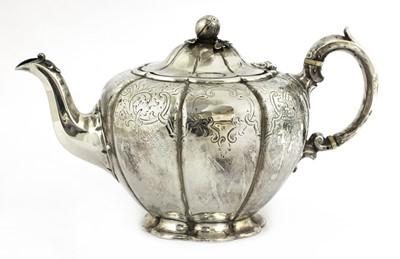 Lot 59 - A Victorian silver melon-shaped teapot