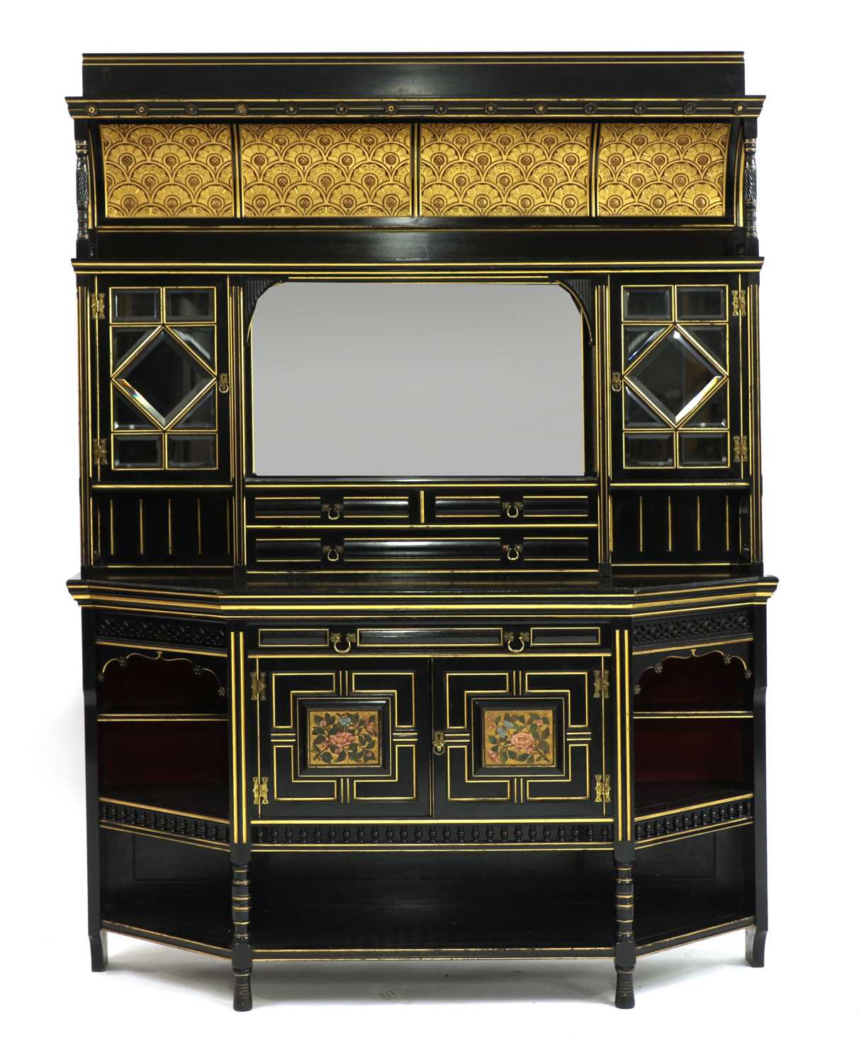 Lot 27-An Aesthetic ebonised and gilt wall cabinet