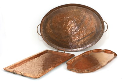 Lot 122 - An Arts and Crafts John Pearson copper tray