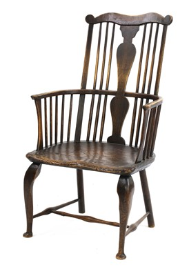 Lot 93 - An ash and elm stick back Windsor chair