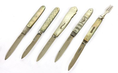 Lot 46-Five silver and mother-of-pearl folding fruit knives