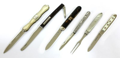 Lot 45-Five various silver folding fruit knives and fork