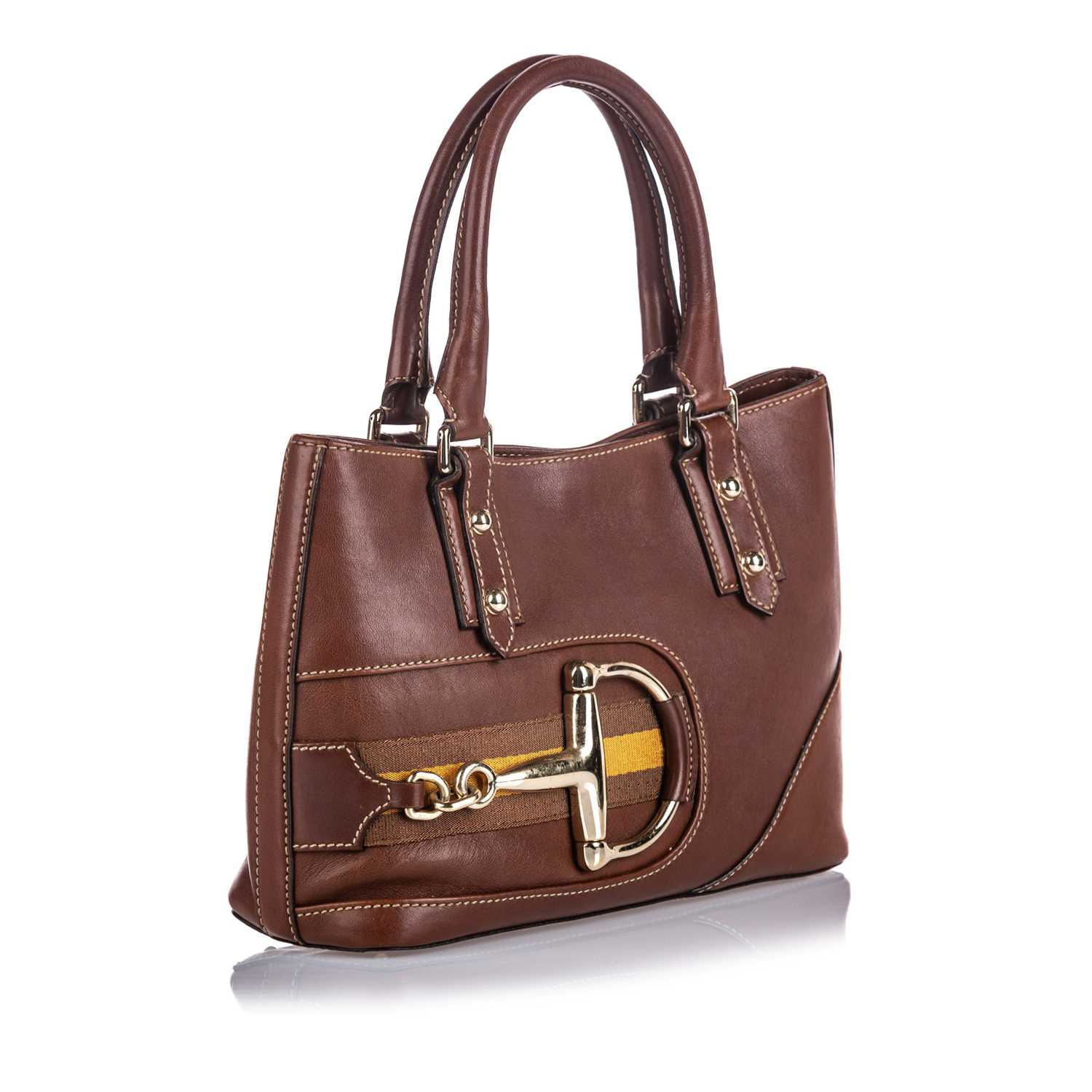 424 - A Gucci brown leather 'Hasler' tote,