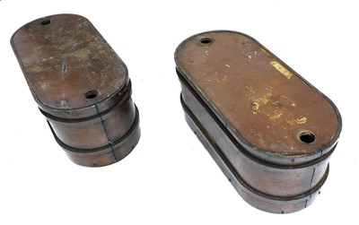 Lot 387 - A pair of bronzed steel planters/plinths