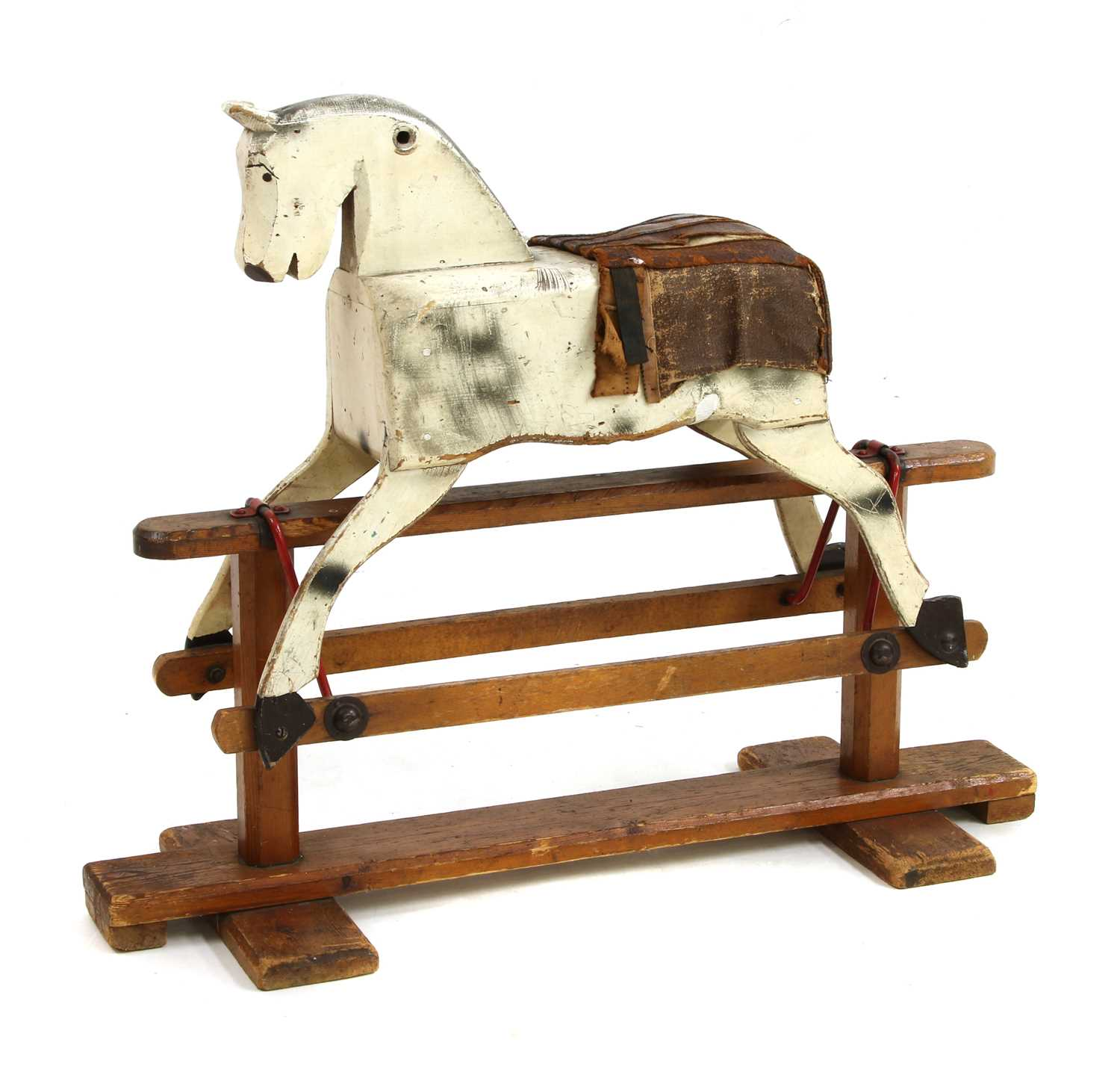 Lot 183 A Cream Painted Wooden Rocking Horse