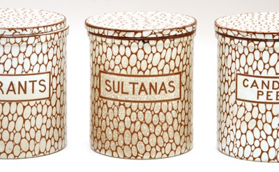 Lot 508 - A set of twelve Maling 'cobblestone' kitchen jars and covers