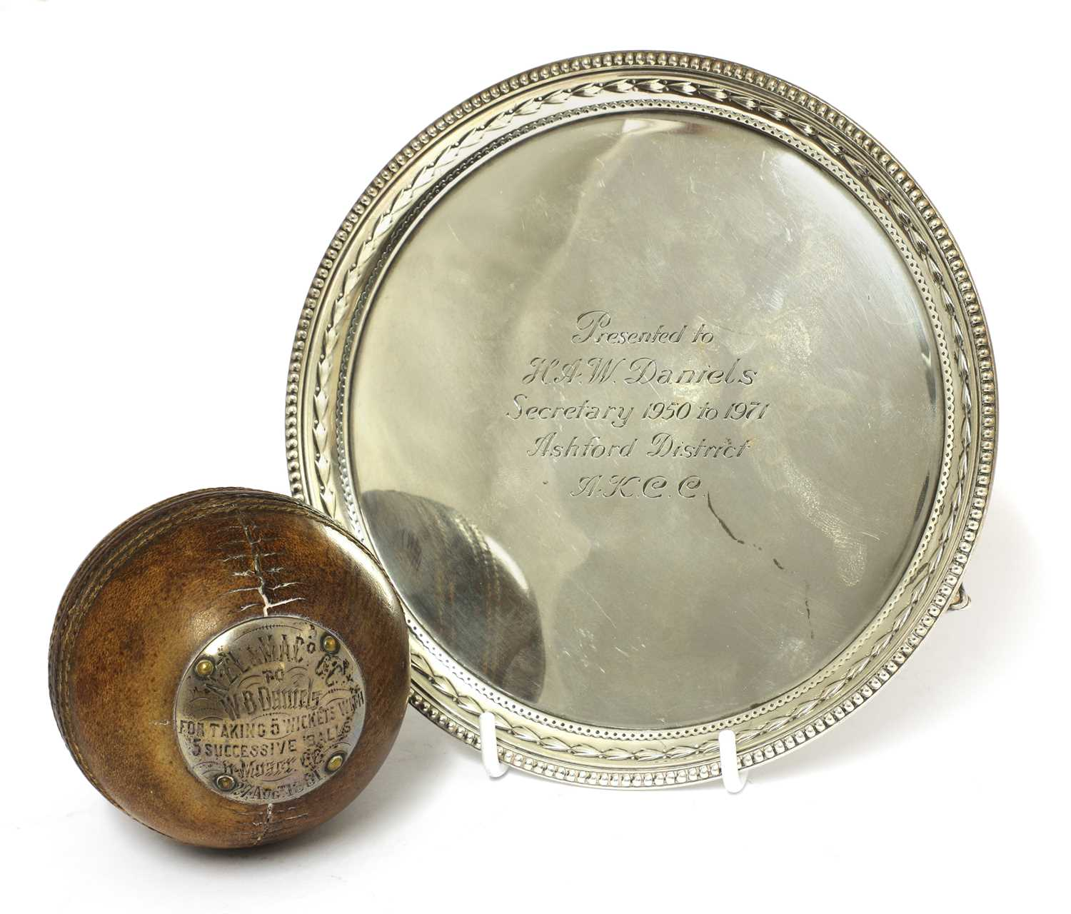 Lot 23-A Victorian silver-mounted cricket ball