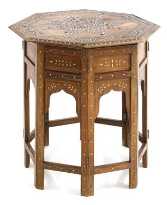 Lot 145 - An Indian bone inlaid hardwood octagonal occasional table