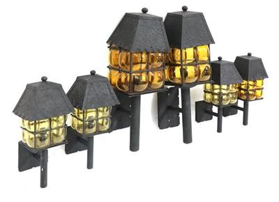 Lot 138 - A set of six Arts and Crafts wall lanterns