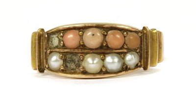 Lot 7-A Victorian 15ct gold coral and split pearl ring