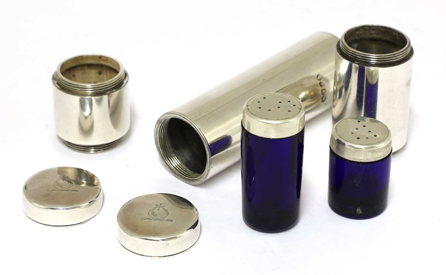 Lot 3-A William IV silver campaign cylindrical knife, fork and condiment holder