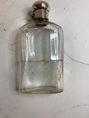 Lot 4-An Edwardian cut-glass and silver-mounted hip flask