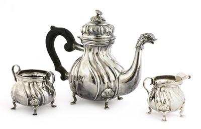 Lot 38 - A Continental .830 standard three-piece tea set