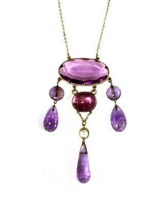 Lot 78 - An Edwardian amethyst, paste and blister pearl necklace