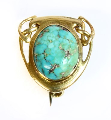 Lot 88 - An Arts & Crafts gold-mounted turquoise brooch, c.1900