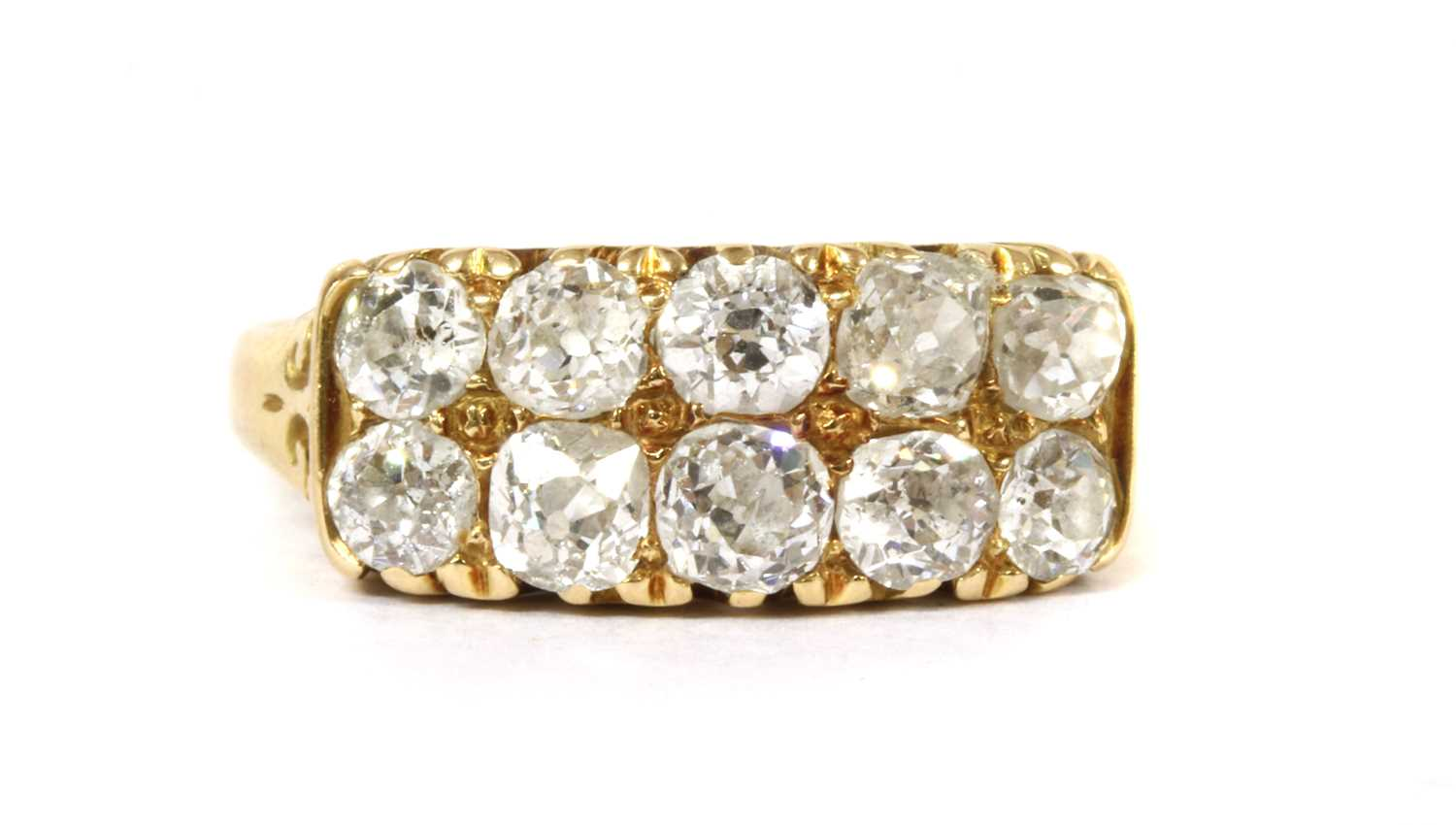 Lot 5-A Victorian 18ct gold ten stone diamond ring