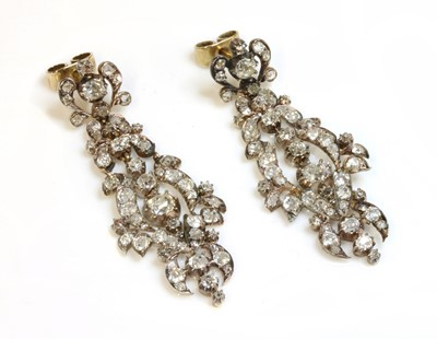Lot 45 - A pair of late Georgian diamond set drop earrings