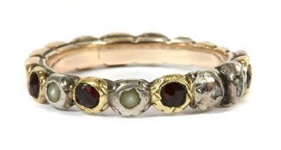 Lot 2-A Georgian silver and gold, garnet, split pearl and diamond full hoop ring