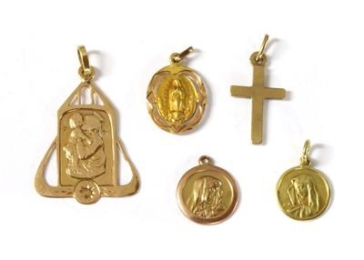 Lot 44-A quantity of gold religious pendants
