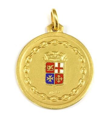 Lot 45-An Italian gold enamel Naval yacht school medal