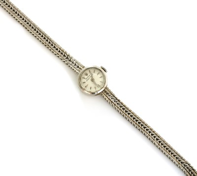Lot 192 - A ladies' 9ct white gold Rolex 'Precision' mechanical bracelet watch, c.1960