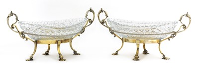 Lot 41 - A pair of gilt-plated and cut-glass oval bonbon dishes