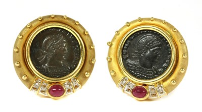 Lot 41-A pair of gold-mounted Roman coin earrings