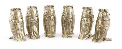 Lot 12-A set of six modern cast silver owl pepperettes