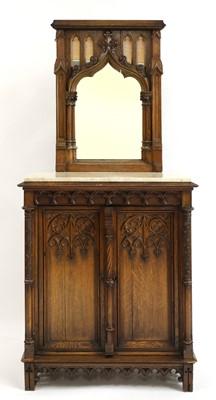 Lot 42-A German carved oak side cabinet