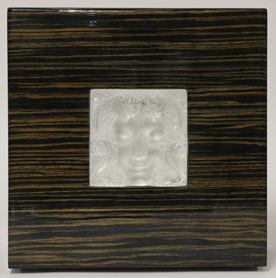 Lot 300 - A Lalique glass 'Masque de Femme' and coromandel jewellery box
