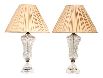 Lot 78 - A pair of cut-glass table lamps