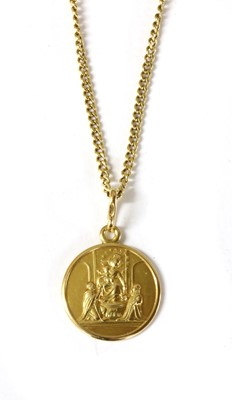 Lot 43-An Italian 18ct gold Madonna and Child pendant, by UnoAErre