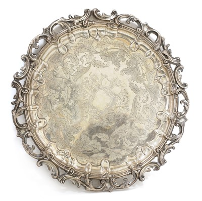 Lot 40 - A large silver-plated circular tray