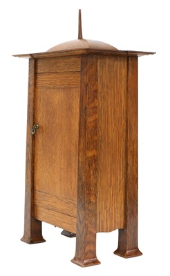 Lot 198 - A rare Arts and Crafts oak architectural clock, designed by CFA Voysey, c. 1902