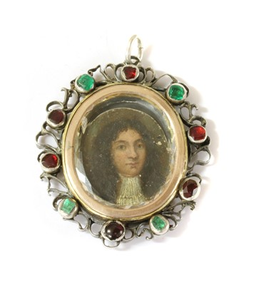 Lot 1-A silver mounted portrait miniature, 18th century