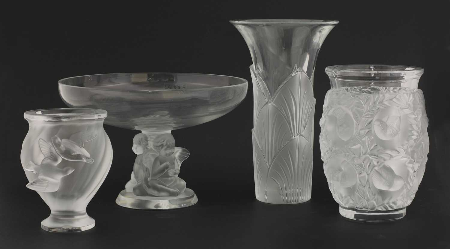Lot 298 - Four Lalique clear and frosted items