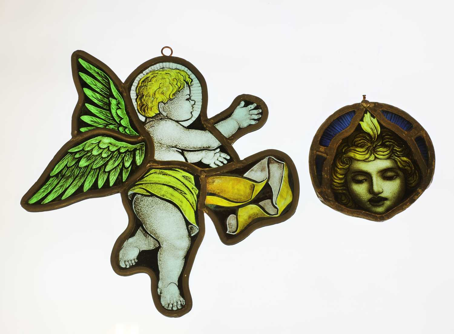 Lot 34 - Two Arts and Crafts stained glass and leaded panels