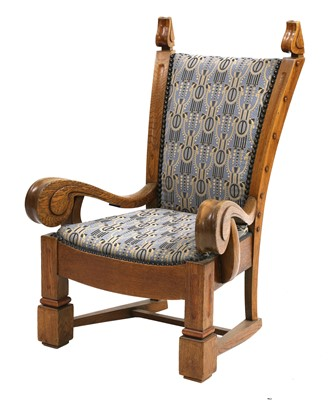 Lot 157 - A Scandinavian oak Art Nouveau armchair