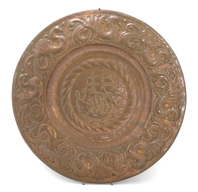 Lot 16-An Arts and Crafts Newlyn copper charger