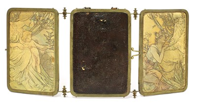 Lot 84 - A brass and embossed triptych mirror