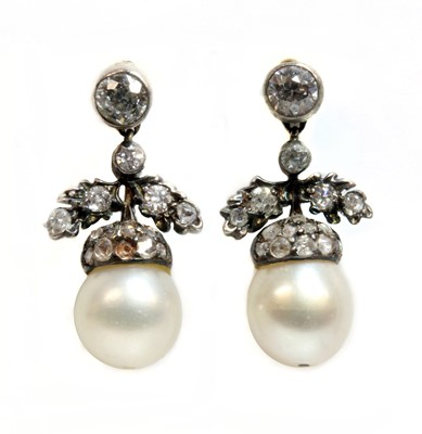 Lot 123 - A pair of late Victorian pearl and diamond acorn drop earrings