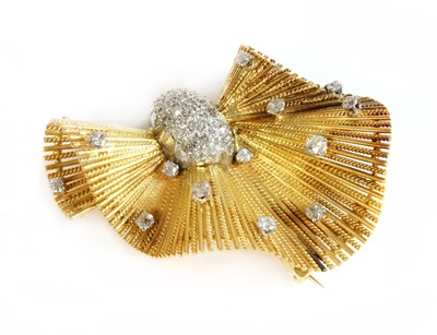 Lot 162 - A Continental gold and platinum, diamond set, bow brooch, c.1945-1955