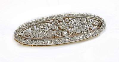 Lot 152 - A Belle Époque diamond set oval plaque brooch