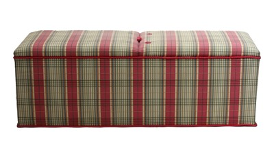 Lot 90 - A tartan upholstered blanket and storage box