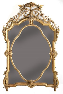 Lot 46 - A large giltwood and gesso overmantel mirror