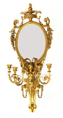 Lot 87 - A large giltwood and gesso four-light girandole wall mirror