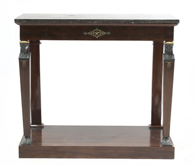 Lot 70 - A French Empire Egyptian Revival mahogany and marble-topped console table