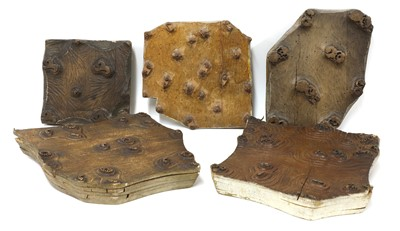 Lot 176 - Five wooden hand printing blocks from the William Morris printing works at Merton Abbey