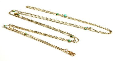 Lot 89 - A Victorian gold and turquoise long chain