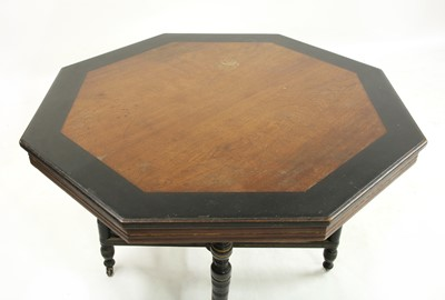 Lot 8-An Aesthetic oak and ebonised octagonal hall table